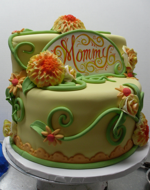 Trendy Happy Mother's Day in yellow, orange and green cake decors.PNG
