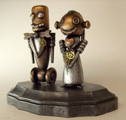 Robot Bride and Groom Wedding Cake Topper Wood Statues.PNG