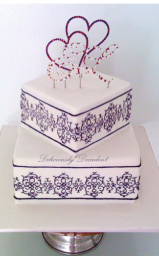 wedding cake with monogram square wedding cake with monogram cake toppers png 26927