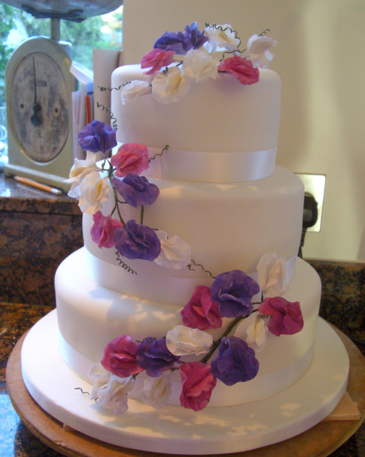 Wedding cake with fake flowers decor.PNG Hi-Res 720p HD
