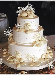Wedding cake with white chocolae seashell cake topper.PNG