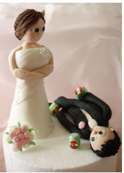 Wedding custom cake toppers with bride standing up watching her groom on the ground drunk.PNG