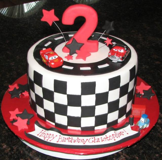 Cars theme checker flag birthday cake for 2-year-old.JPG
