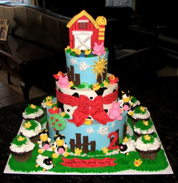 Three Level Farm Theme Cake With Matching Cupcakes Jpg 2