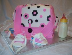 Diaper bag baby shower cake with milk bottle.JPG