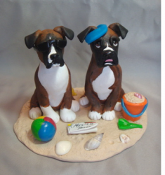 Boxer Dogs Beach Wedding Cake Topper with beach theme.PNG