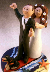 Caribbean Wedding Cake Topper with their dog.PNG