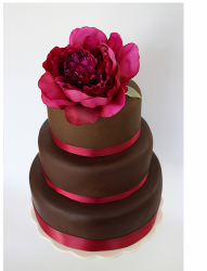Chic chocolate Peony Wedding Cake Topper picture.PNG