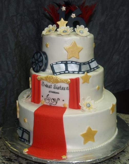 Hollywood Theme 3 Tier Sweet Sixteen Birthday CakeJPG Hi