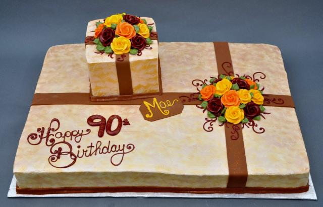 Dual Gift Box Present Cake For 90 Year Old Colorful RosesJPG