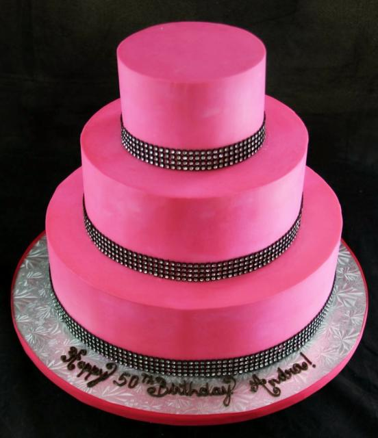 3 Tier Pink 50th Birthday For Women Cake
