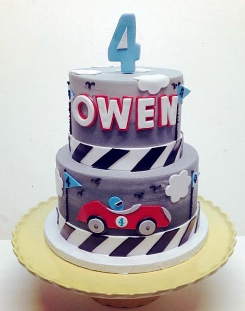 2 Tier Racing Theme Cake For 4 Year Old Boy
