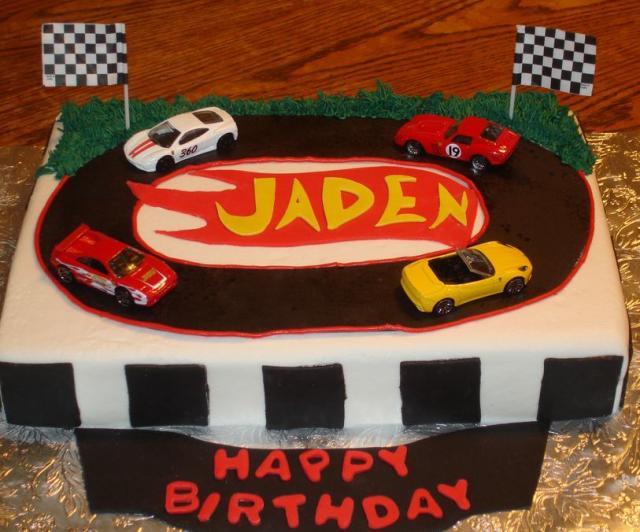 Hot Wheels theme racing track birthday cake.JPG