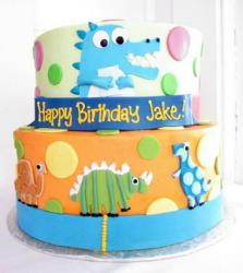 Two tier cartoon dinosaur cake for kids.JPG