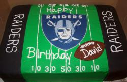 Oakland Raiders football field birthday cake.JPG