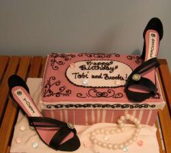 Women's shoes and box and pearl necklace birthday cake.JPG