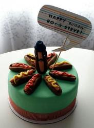 Hot dog theme birthday cake with round cake and 9 hot dogs on top.JPG