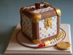 Louis Vuitton make up box cake with lipstick.JPG