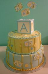 Baby shower cake in two tiers with baby block topper.JPG