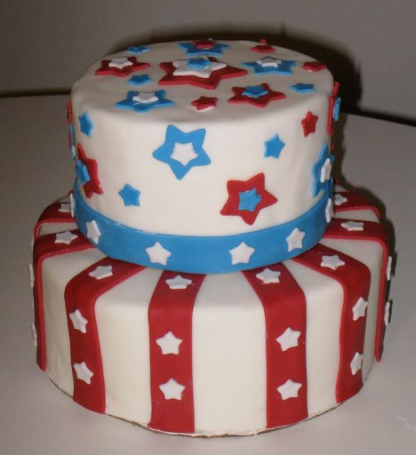 Two tier round 4th of July theme cake.JPG