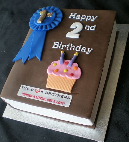 Book theme second birthday cake.JPG
