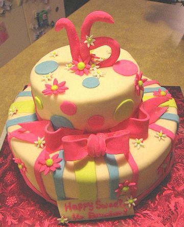 Two Tier Light Yellow Sweet 16 Birthday Cake With Pink BowJPG