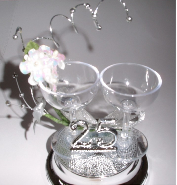 25th Wedding Anniversary Cake Topper With Wine GlassesPNG Hi Res 720p HD