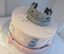 Light pink birthday cake with tiara for 5 year old.JPG