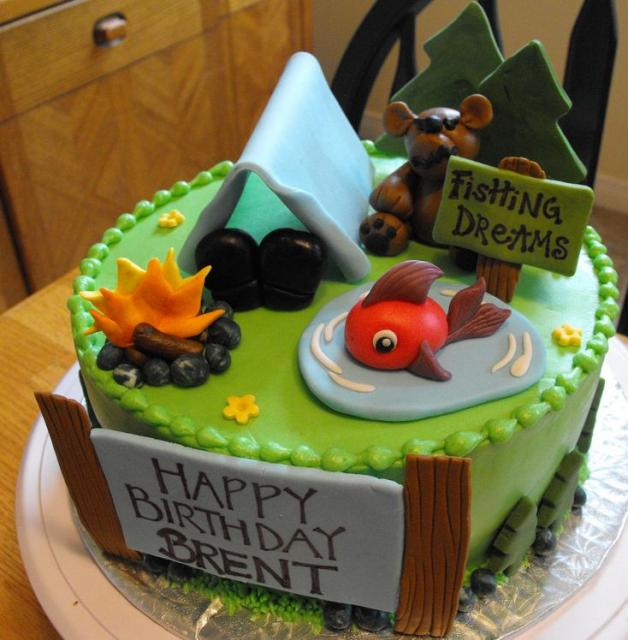 Fish Theme Birthday Birthday Cake http://www.cakepicturegallery.com/v/birthday-cakes/Camping+and+fishing+theme+birthday+cake.JPG.html