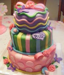 Three tier baby shower cake with pokadots and waves.JPG