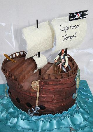 Pirate ship at sea theme birthday cake.JPG