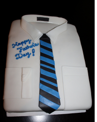 White fathers day cake with black and blue tie.PNG