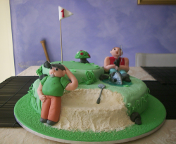 Golf and fishing father's day cake picture with funny cake toppers.PNG