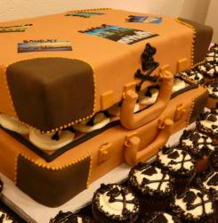 Orange and brown suitcase cake.JPG