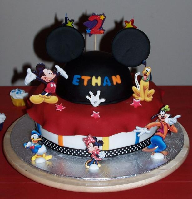 Mickey Mouse and other Disney characters theme birthday cake.JPG