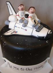 Space shuttle space theme cake.JPG