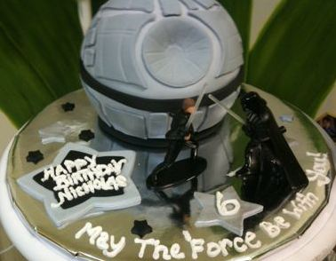 Image of star wars theme birthday cake w deathstar