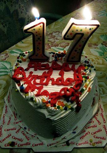 White Heart Shaped Cream Seventeenth Birthday Cake Jpg