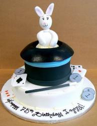 Rabbit in a hat magic theme birthday cake.JPG