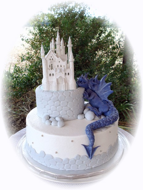 Castle Wedding Cake With Purple Dragon