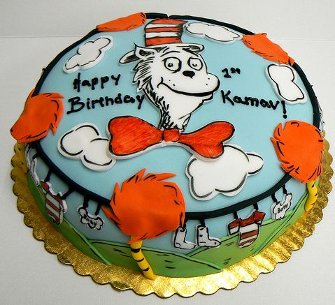 Stupendous Round Cat In The Hat Birthday Cake For One Year Old Jpg Personalised Birthday Cards Veneteletsinfo