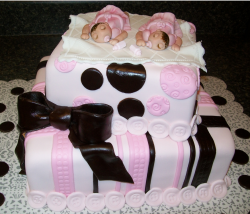 Twins girls baby shower cake in pink and dark chocolate cake decor.PNG