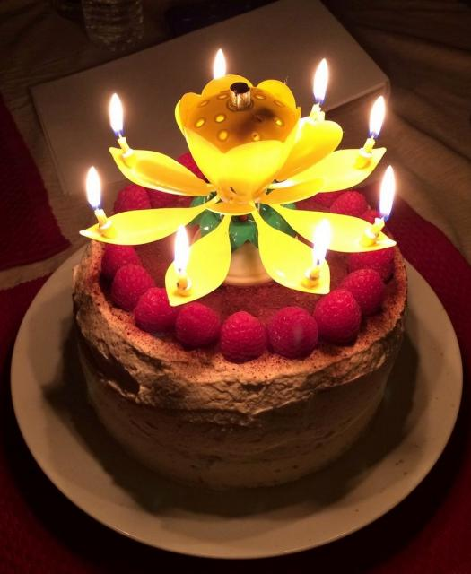 Chocolate Cake Images With Candles : Chocolate cream cake with fresh rasperries & fancy flower ...