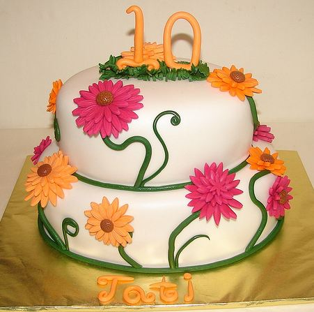 Two Tier 10th Birthday Cake In White With Summer Flower