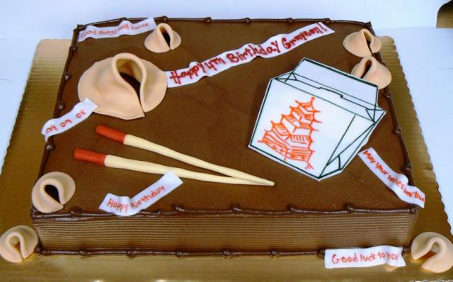 Chinese takeout theme chocolate book birthday cake.JPG