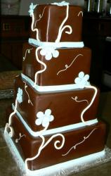 Four level chocolate square wedding cake.JPG