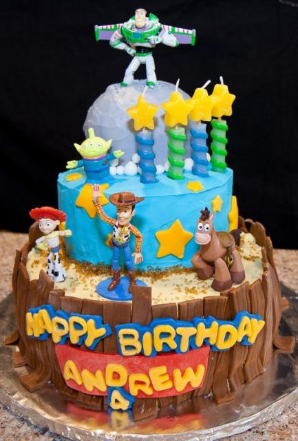 Three tier Toy Stoy theme birthday cake for four year old.JPG