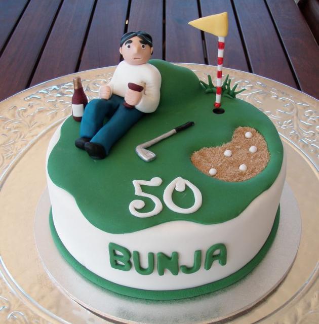 Pic of Golf + wine theme fiftieth birthday cake