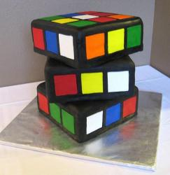 Rubiks cube offset cake in 3 tiers.JPG