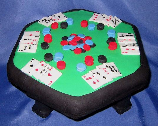 Poker table cake with cards and chips.JPG